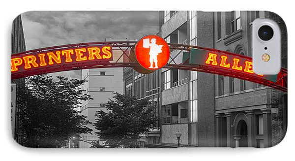 Printers Alley Sign IPhone Case by Robert Hebert