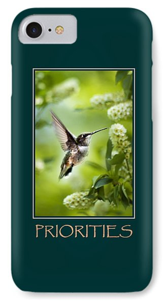 Priorities Inspirational Motivational Poster Art Phone Case by Christina Rollo