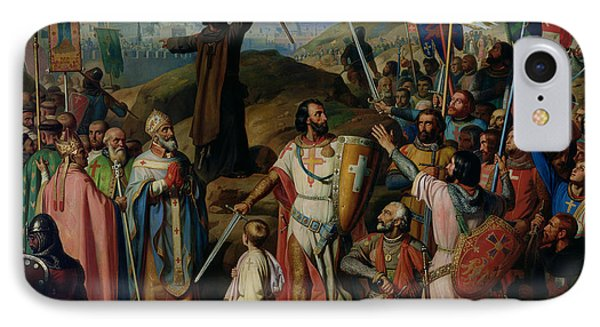 Procession Of Crusaders Around Jerusalem IPhone Case by Jean Victor Schnetz