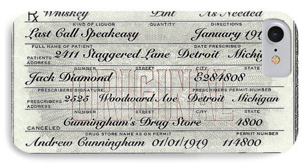 IPhone Case featuring the photograph Prohibition Prescription Certificate Establishments by David Patterson