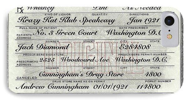 IPhone 7 Case featuring the photograph Prohibition Prescription Certificate Krazy Kat Klub by David Patterson