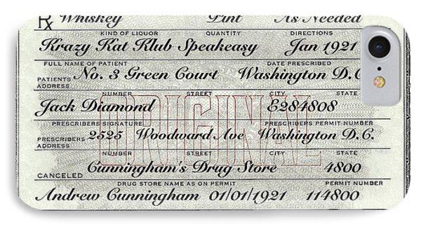 IPhone Case featuring the photograph Prohibition Prescription Certificate Krazy Kat Klub by David Patterson