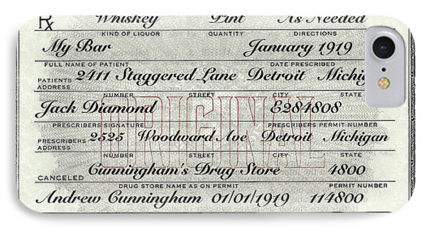 IPhone Case featuring the photograph Prohibition Prescription Certificate My Bar, by David Patterson
