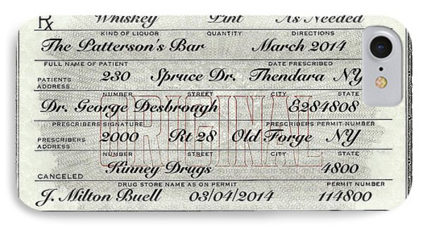 IPhone Case featuring the photograph Prohibition Prescription Certificate Personalized by David Patterson