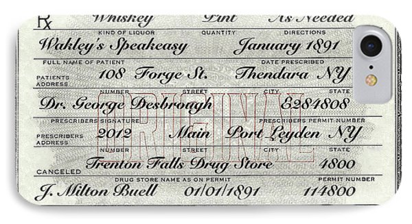 IPhone Case featuring the photograph Prohibition Prescription Certificate Speakeasy by David Patterson