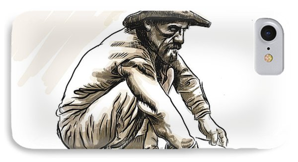 IPhone Case featuring the drawing Prospector by Antonio Romero