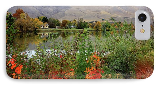 Prosser Autumn River With Hills Phone Case by Carol Groenen