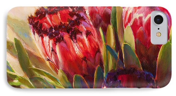IPhone Case featuring the painting Protea - Tropical Flowers From Hawaii by Karen Whitworth