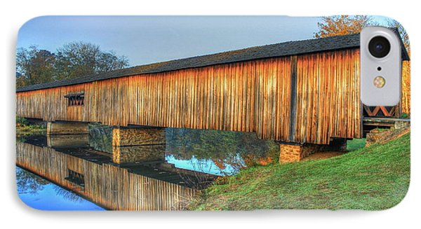 Protection That Works 2 Watson Mill Covered Bridge Reflections IPhone Case