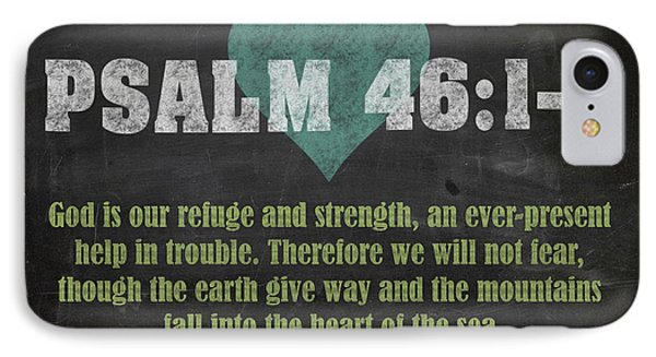Psalm 46 12 Inspirational Quote Bible Verses On Chalkboard Art IPhone Case
