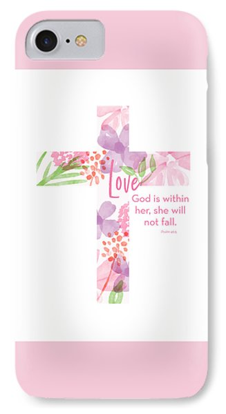 Cross iPhone 7 Case - Psalm 46 5 Cross- Art By Linda Woods by Linda Woods