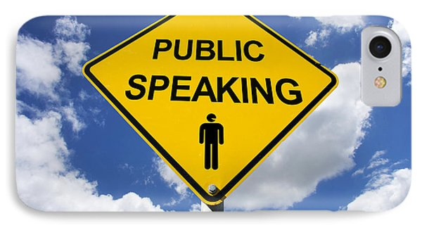 Public Speaking Sign IPhone Case by Jorgo Photography - Wall Art Gallery