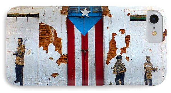 IPhone Case featuring the photograph Puerto Rican Flag On Wooden Door by Steven Spak