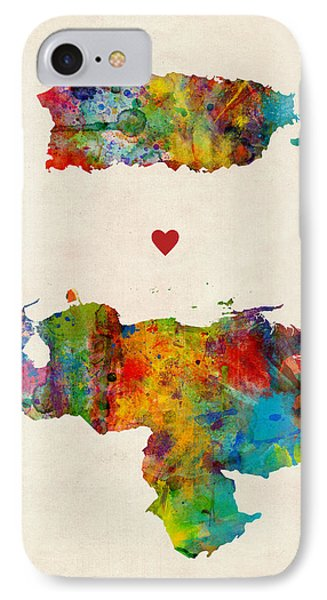 South America iPhone 7 Case - Puerto Rico Venezuela Love by Michael Tompsett