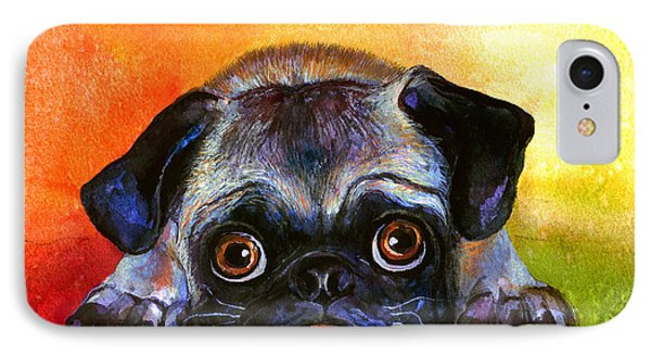Pug Dog Portrait Painting IPhone Case by Svetlana Novikova