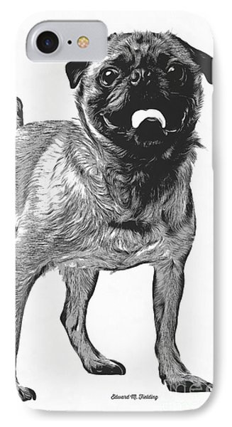 Pug Dog Standing Graphic IPhone Case