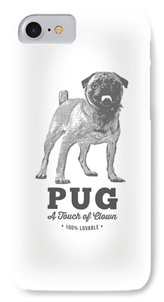 Pug Dog Touch Of Clown T-shirt IPhone Case by Edward Fielding