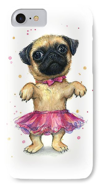 Pug In A Tutu IPhone Case by Olga Shvartsur