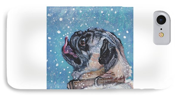 IPhone Case featuring the painting Pug In The Snow by Lee Ann Shepard