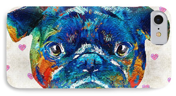 Pug Love Dog Art By Sharon Cummings IPhone Case by Sharon Cummings