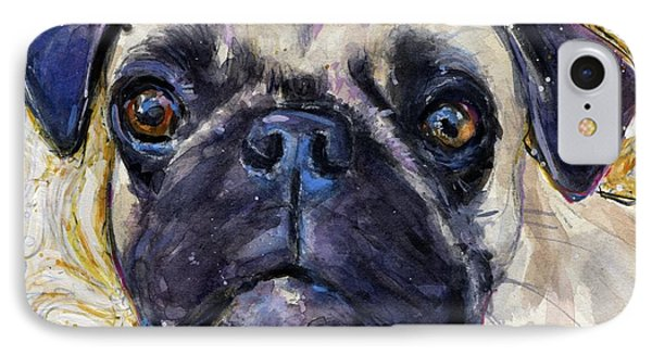 Pug Mug IPhone Case by Molly Poole