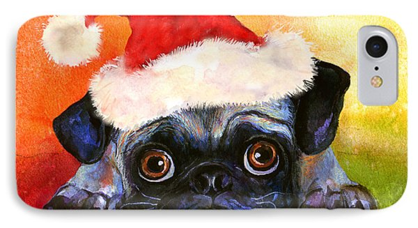 Pug Santa Portrait IPhone Case by Svetlana Novikova