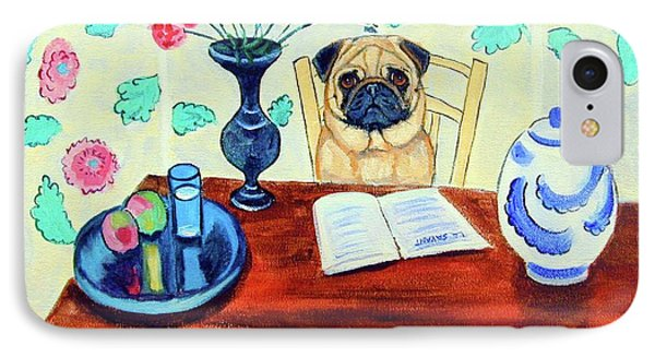 Pug Scholar IPhone Case by Lyn Cook