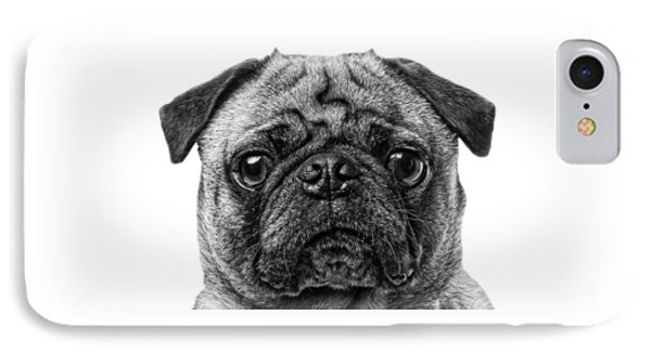 Pug T-shirt IPhone Case by Edward Fielding