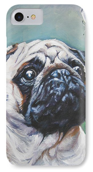 Pug With Butterfly IPhone Case by Lee Ann Shepard