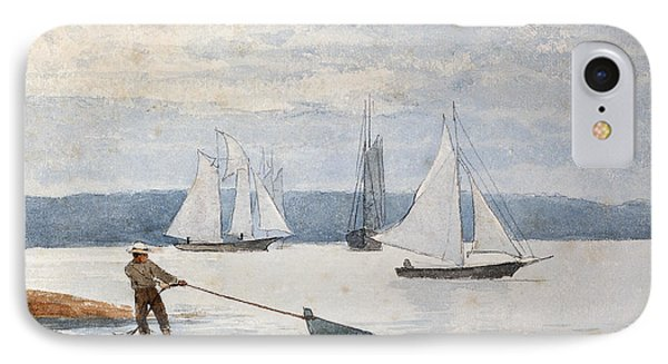 Pulling The Dory IPhone Case by Winslow Homer