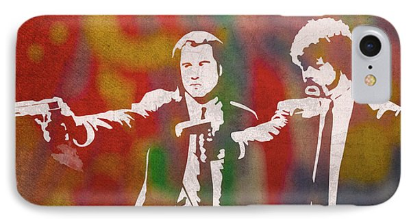 Pulp Fiction Movie Minimal Silhouette Watercolor Painting IPhone Case by Design Turnpike