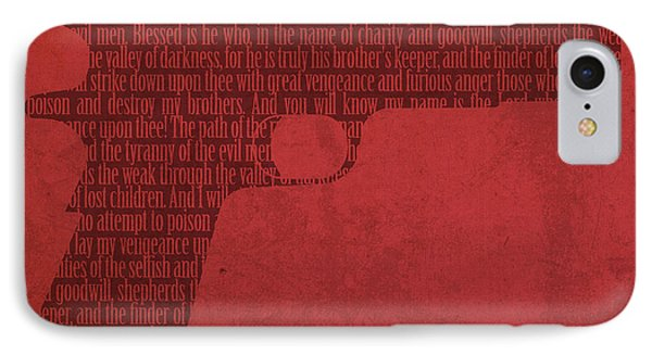 Pulp Fiction Quote Typography In Gun Silhouette IPhone Case by Design Turnpike