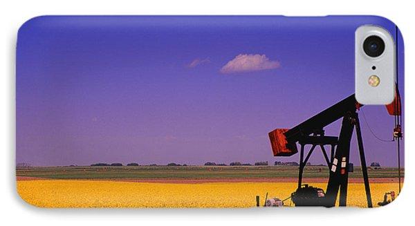 Pumpjack In A Canola Field Phone Case by Carson Ganci