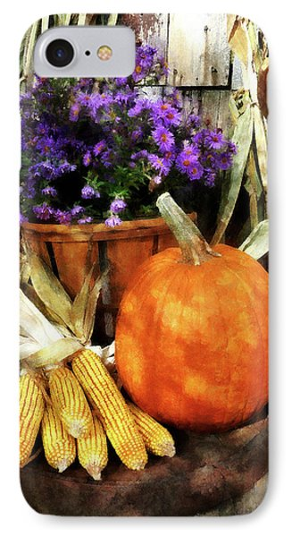 Pumpkin Corn And Asters Phone Case by Susan Savad