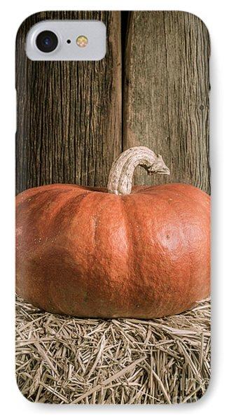 Pumpkin On Straw Bale IPhone Case by Edward Fielding