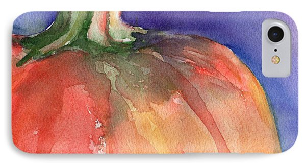 Pumpkin Watercolor Painting IPhone Case by Maria's Watercolor