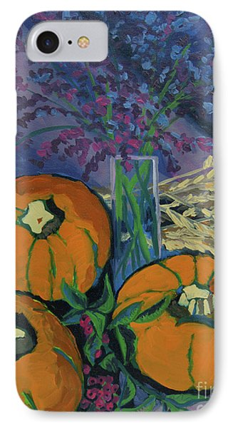 IPhone Case featuring the painting Pumpkins And Wheat by Erin Fickert-Rowland