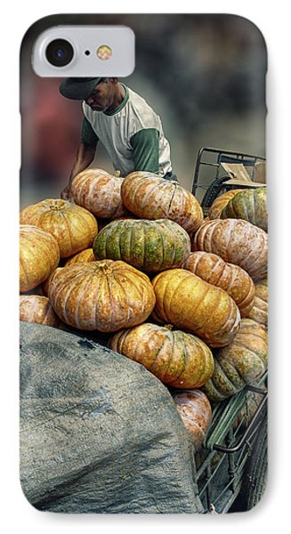 IPhone Case featuring the photograph Pumpkins In The Cart  by Charuhas Images