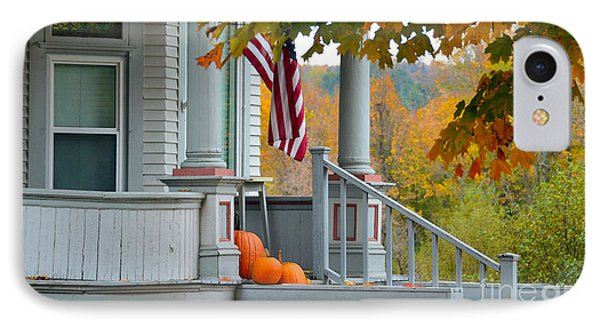 Pumpkins On A Vermont Porch Phone Case by Catherine Sherman
