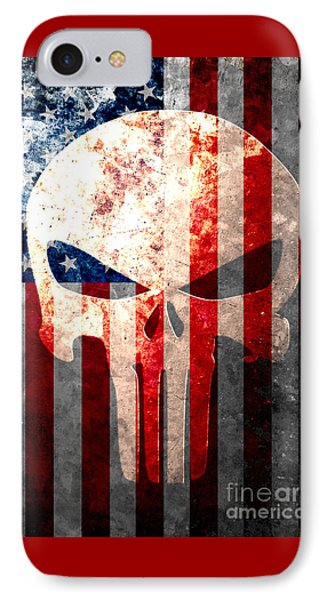 Punisher Skull And American Flag On Distressed Metal Sheet IPhone Case by M L C