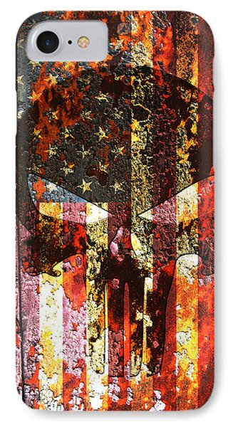 Punisher Skull On Rusted American Flag IPhone Case by M L C