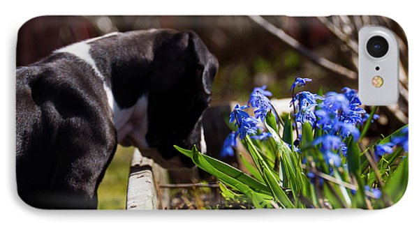 Puppy And Flowers IPhone Case by Tamara Sushko