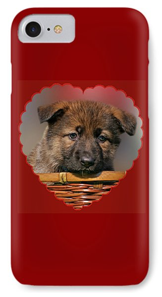 IPhone Case featuring the photograph Puppy In Red Heart by Sandy Keeton