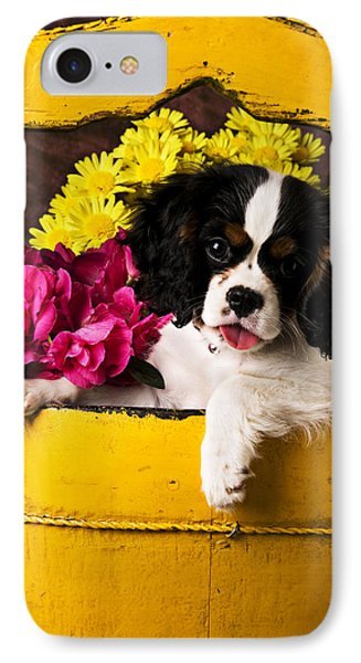 Puppy In Yellow Bucket  Phone Case by Garry Gay