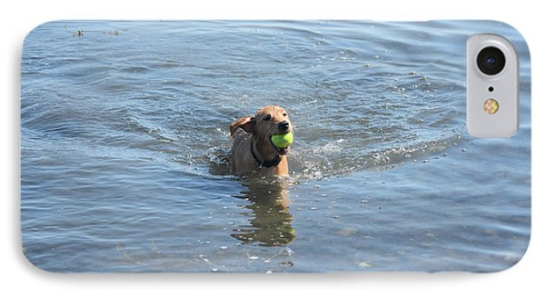 Puppy Playing In The Ocean With A Tennis Ball IPhone Case by DejaVu Designs