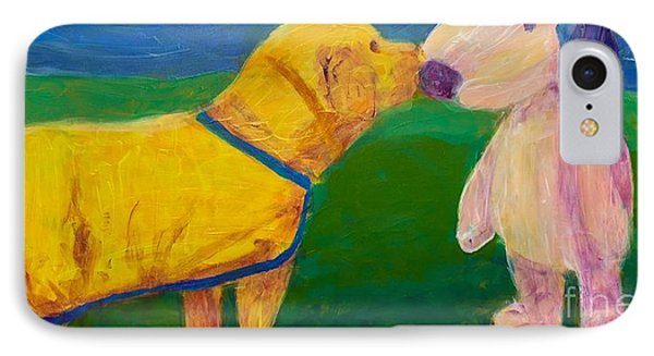 IPhone Case featuring the painting Puppy Say Hi by Donald J Ryker III
