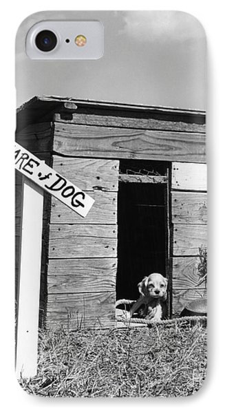 Puppy With Beware Of Dog Sign, C.1950s IPhone Case