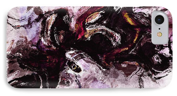 IPhone Case featuring the painting Purple Abstract Painting / Surrealist Art by Ayse Deniz