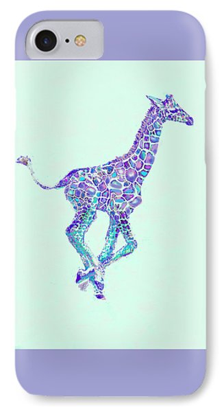 IPhone Case featuring the digital art Purple And Aqua Running Baby Giraffe by Jane Schnetlage