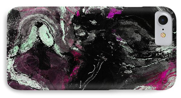 Purple And Black Minimalist / Abstract Painting IPhone Case by Ayse Deniz